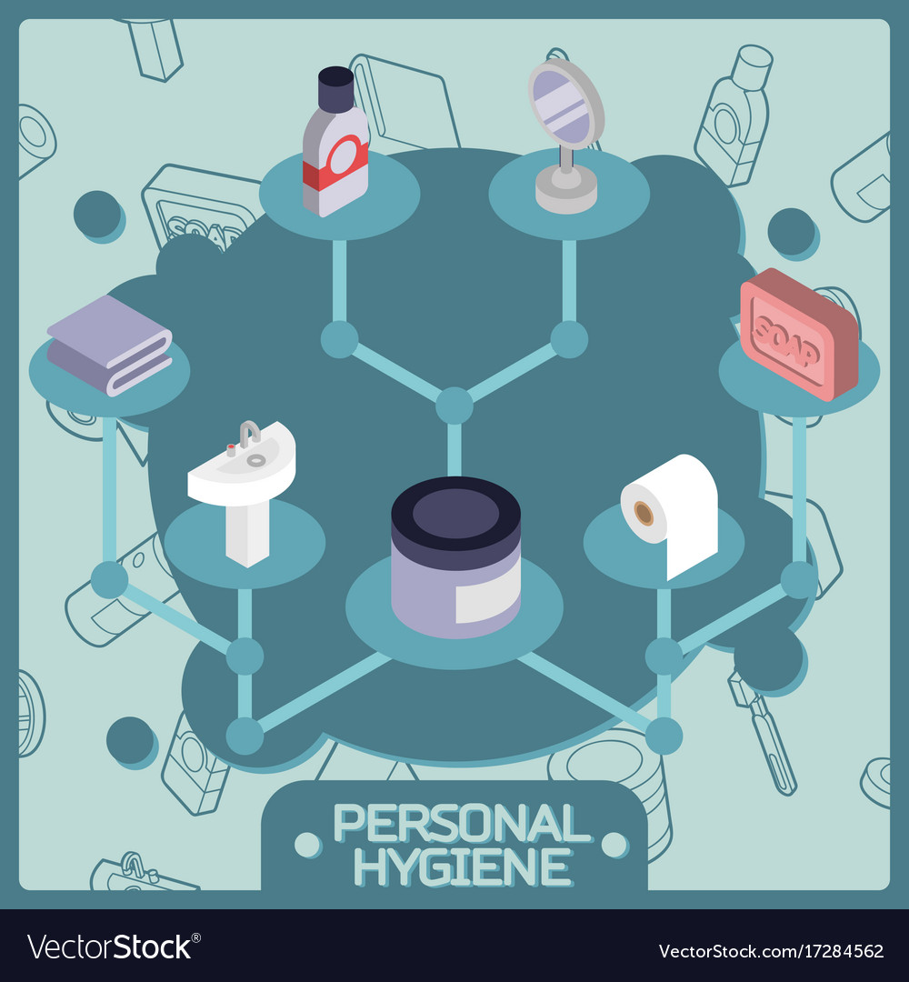 Personal hygiene color isometric concept icons