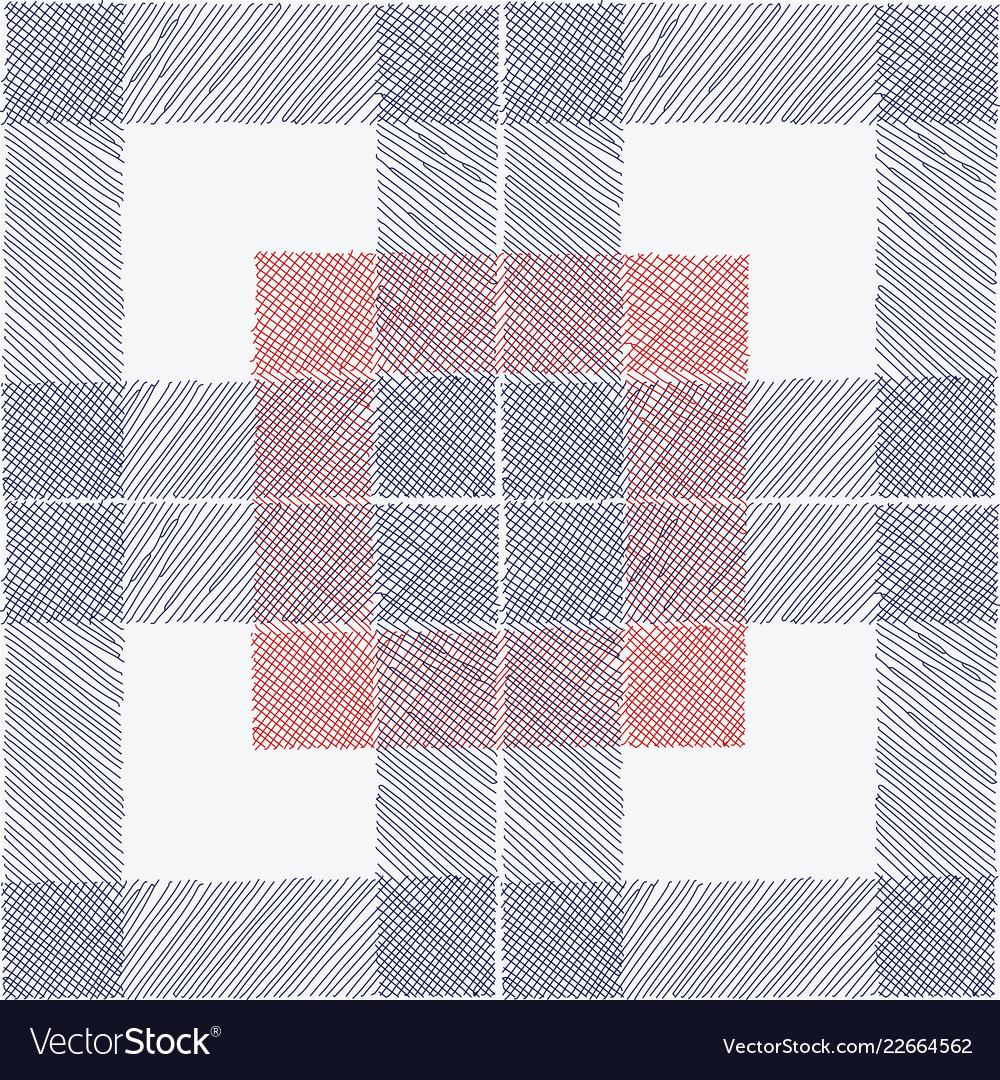 Tartan seamless pattern white blue red checkered
