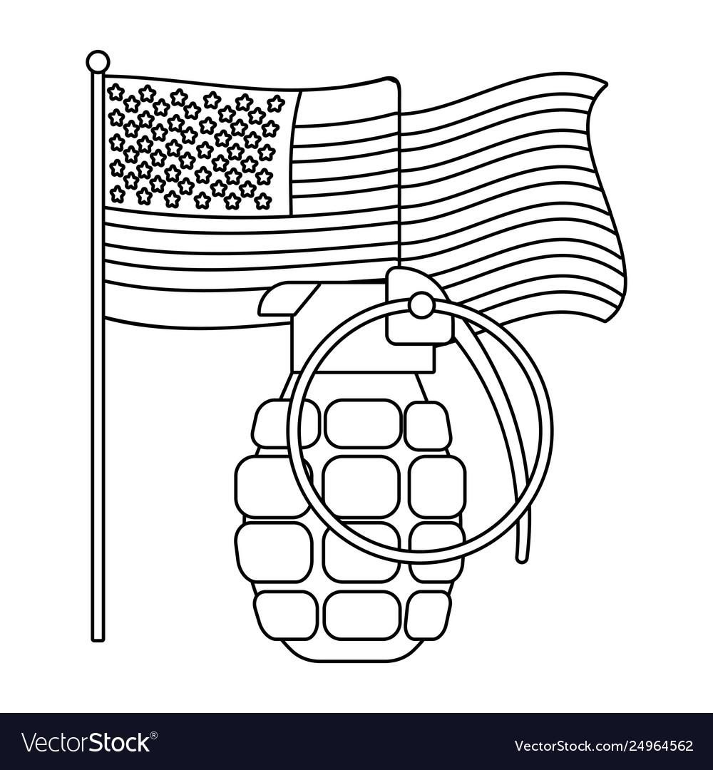 United state flag and grenade black and white