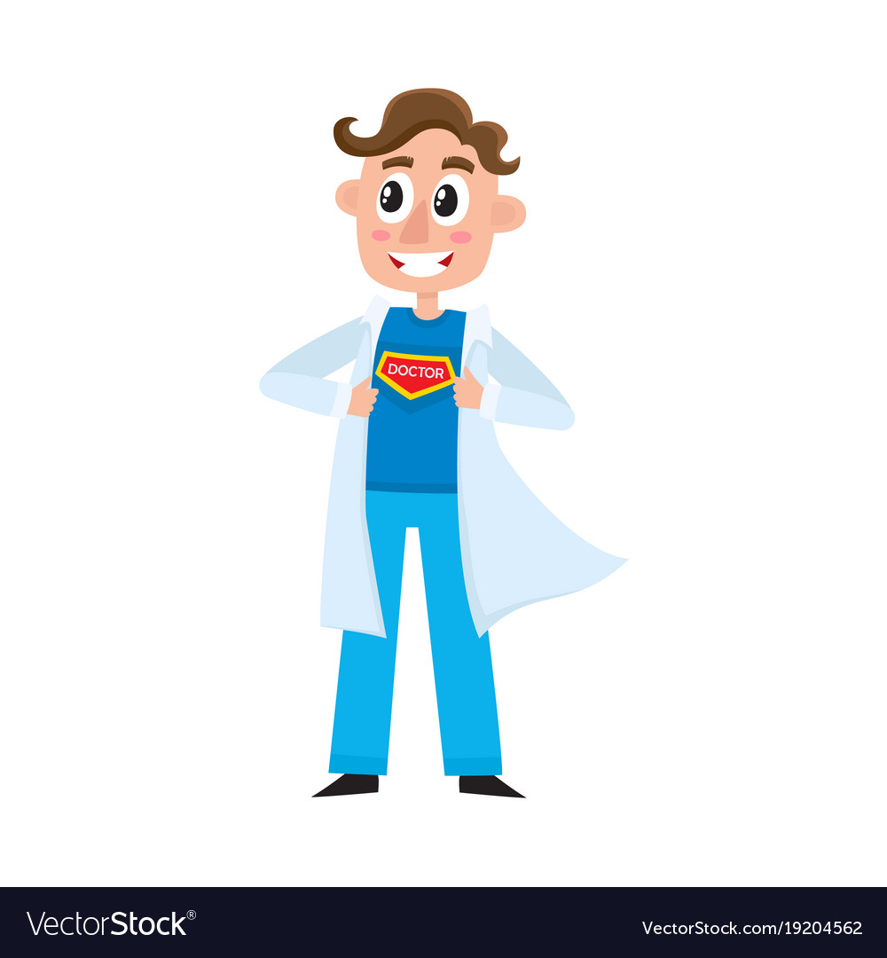 young male doctor showing superhero sign on chest vector image