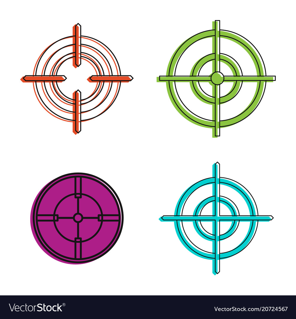 Aim icon set color outline style
