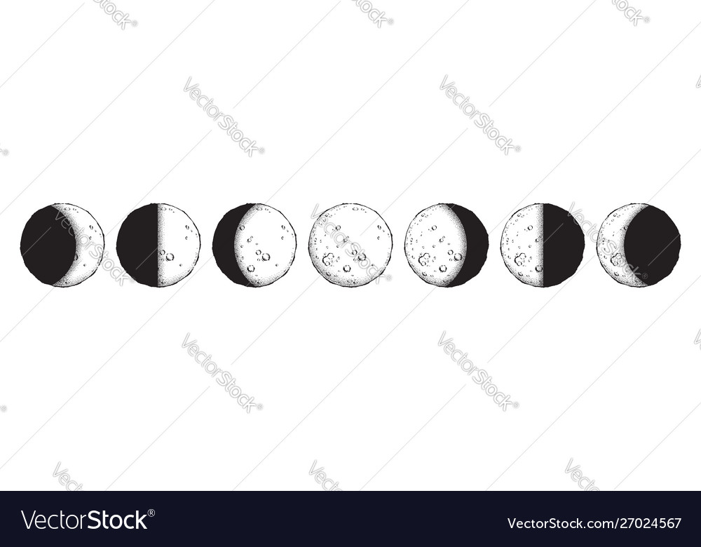 Antique style moon phases isolated