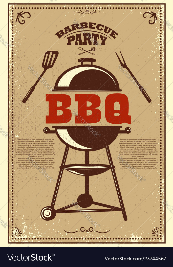 Bbq party poster barbeque and grill design