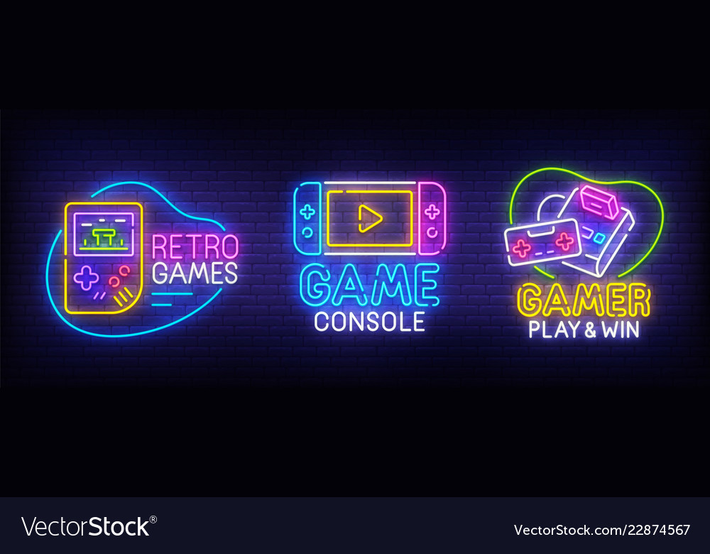 Big set neon billboard retro games gamer