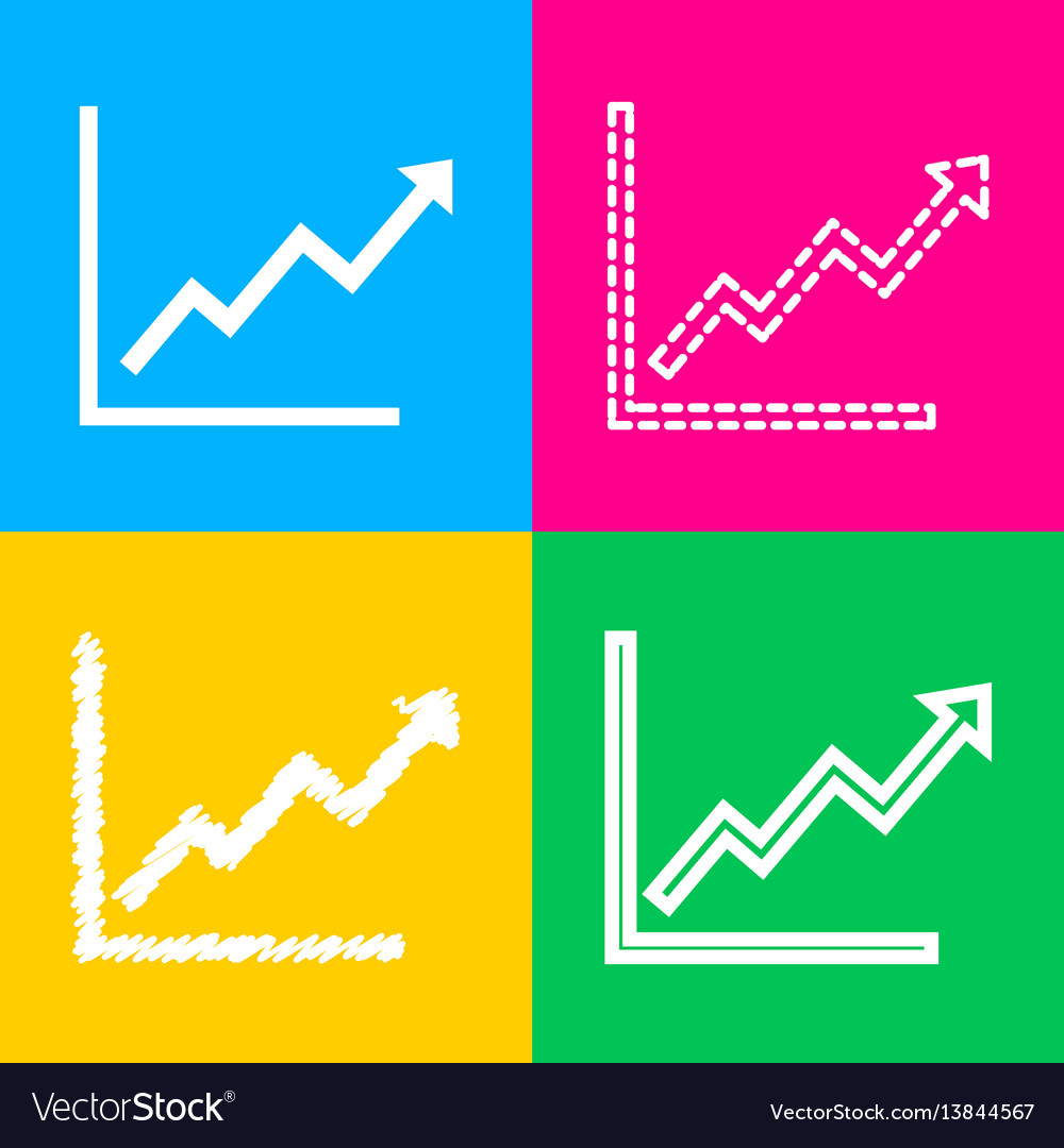 Growing bars graphic sign four styles of icon on