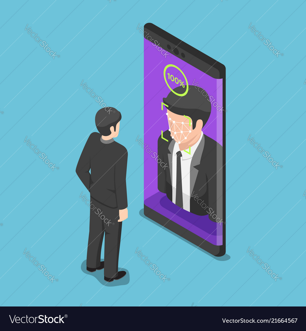 Isometric businessman use face scaning to unlock