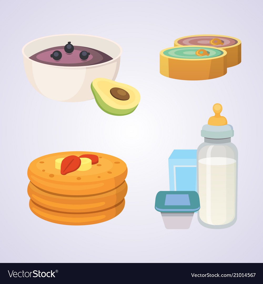 Juices and purees for baby food cartoon products