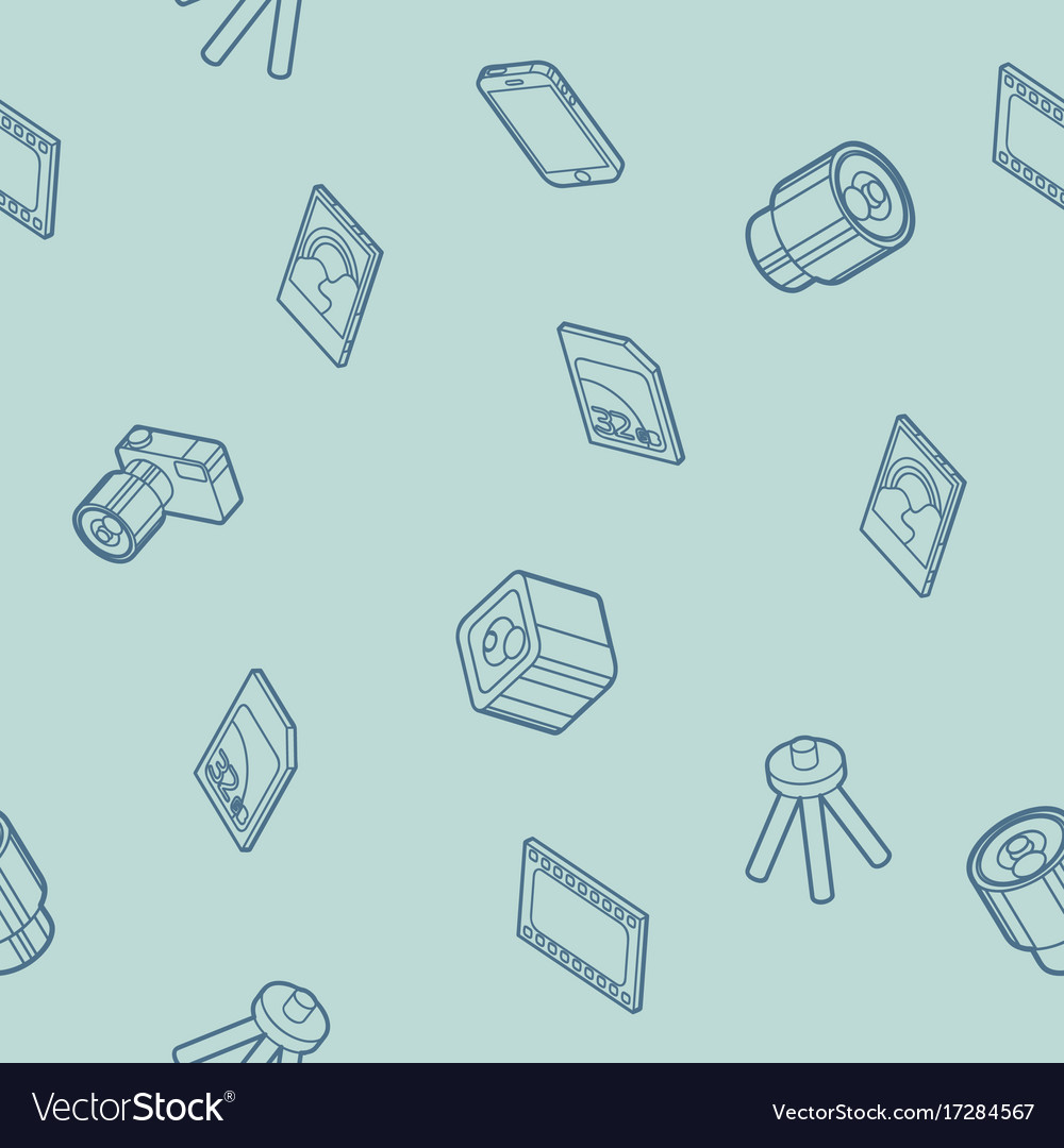 Photo outline isometric icons pattern