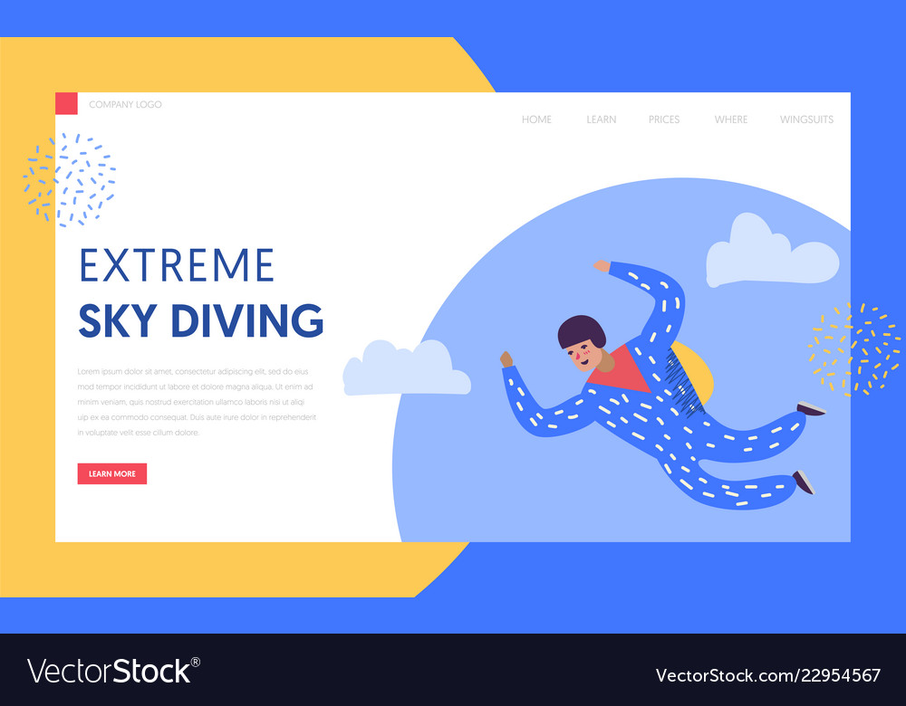 Sky diving extreme sport landing page template