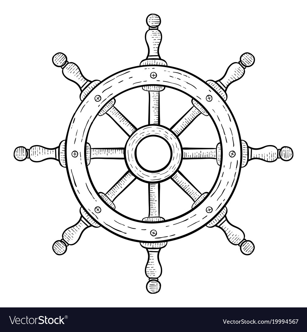 Steering Wheel For Ships And Boats Hand Drawn Vector Image