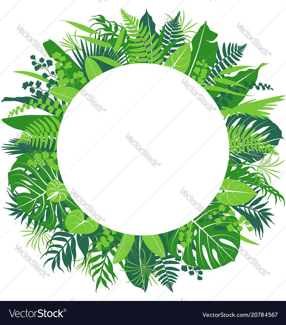 Tropical leaves round frame