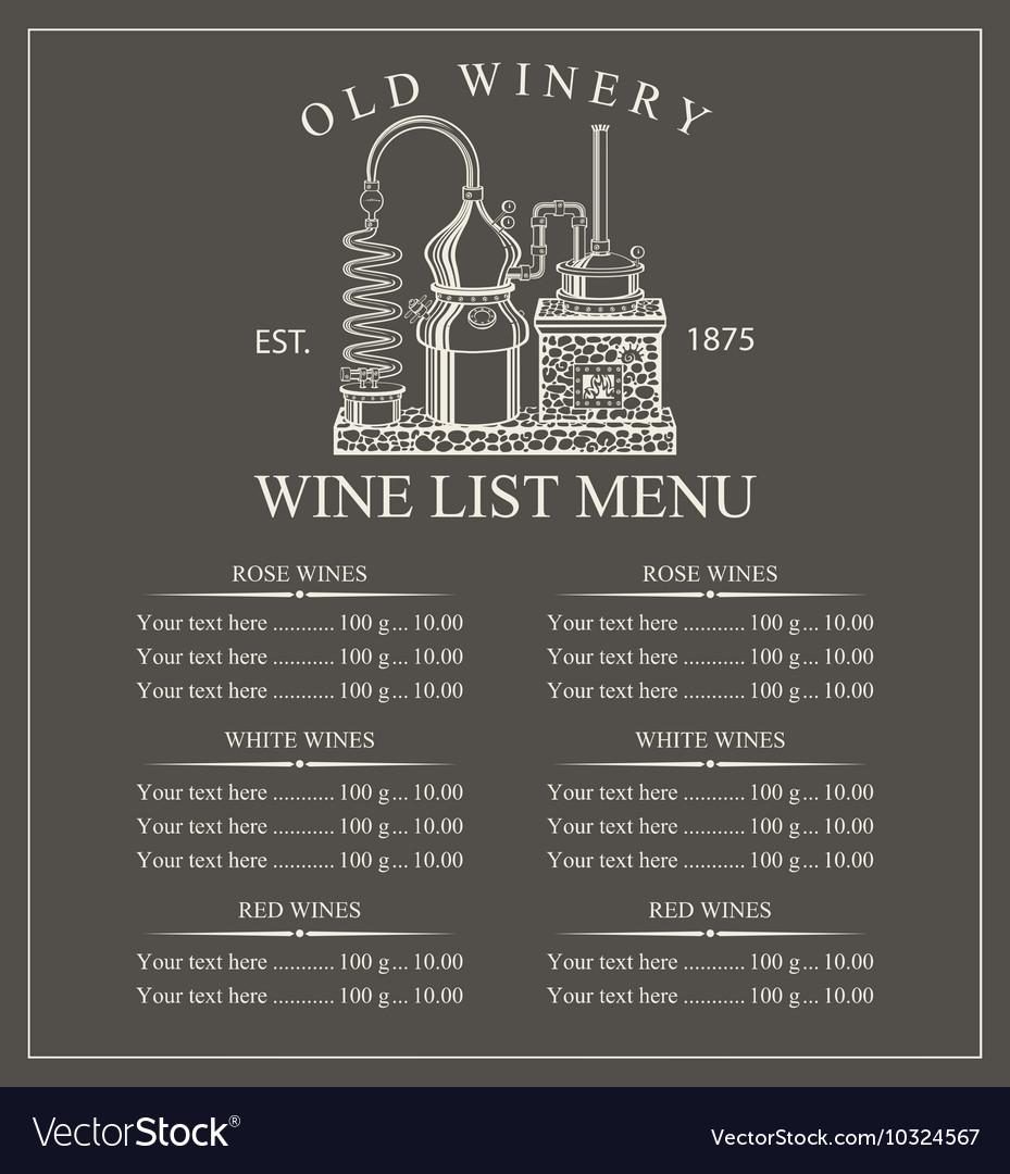 Wine menu price