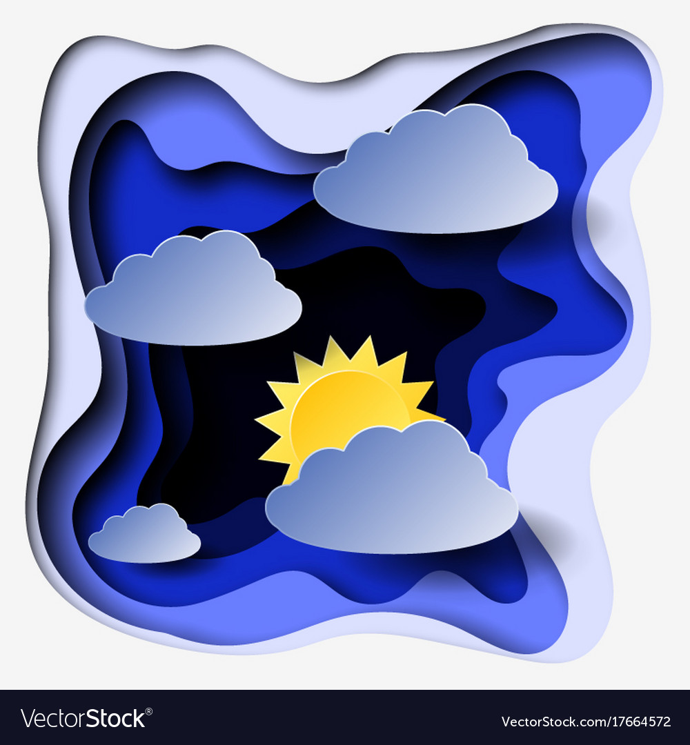 3d abstract paper cut illlustration of clouds and