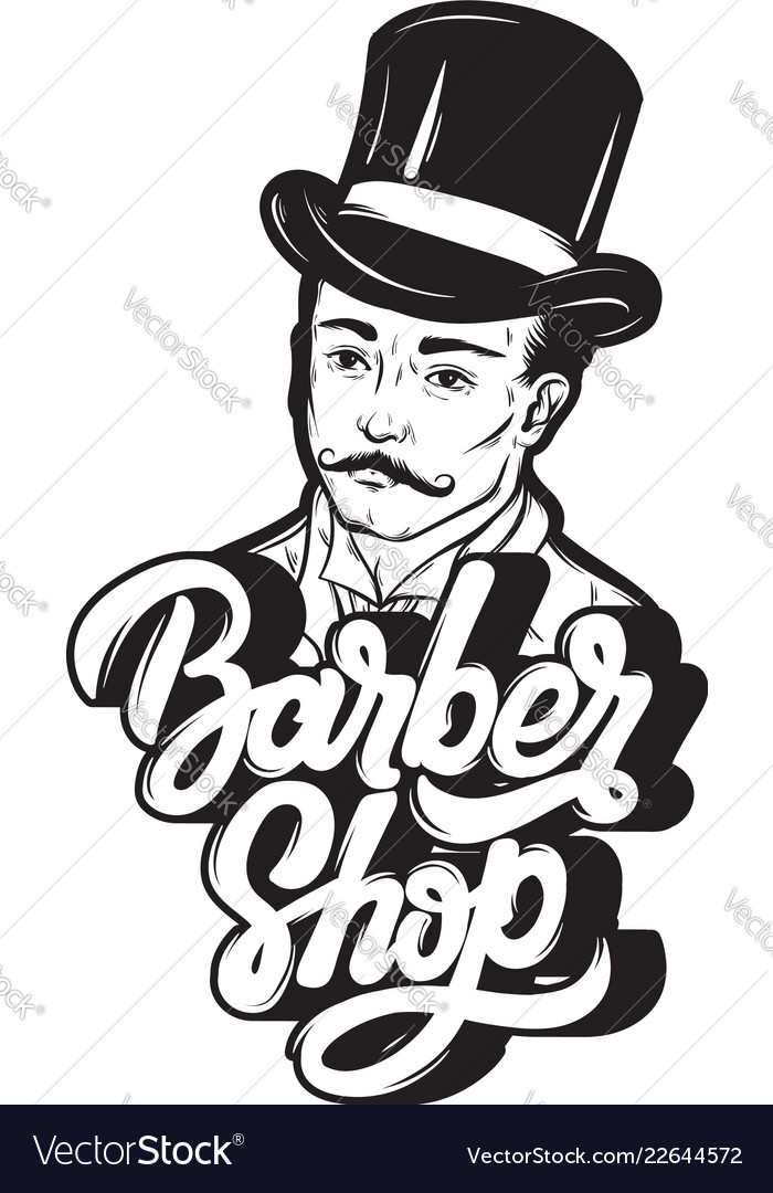 Barber shop handwritten lettering with hand drawn