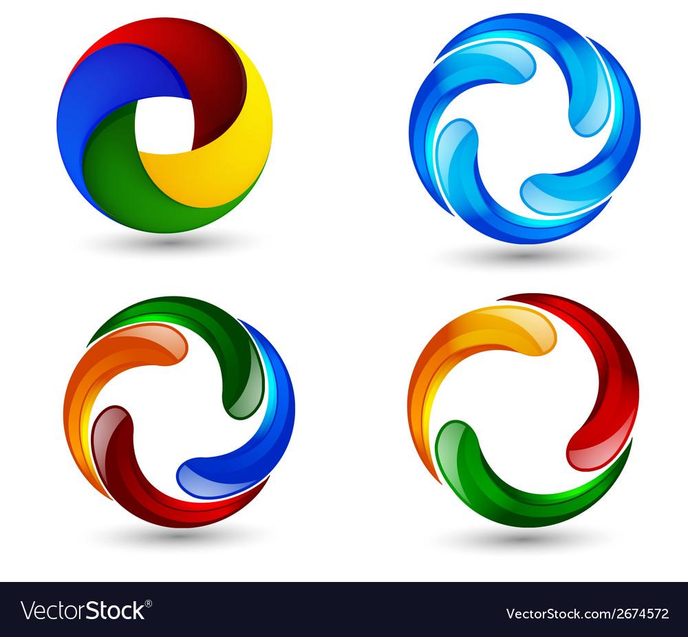 business abstract sphere logo design set vector image  vectorstock