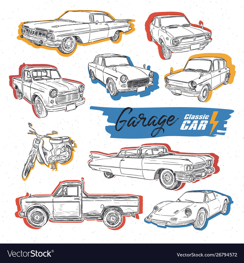 Classic car hand draw sketch