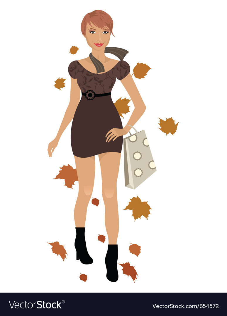 Elegant autumn girl isolated vector image