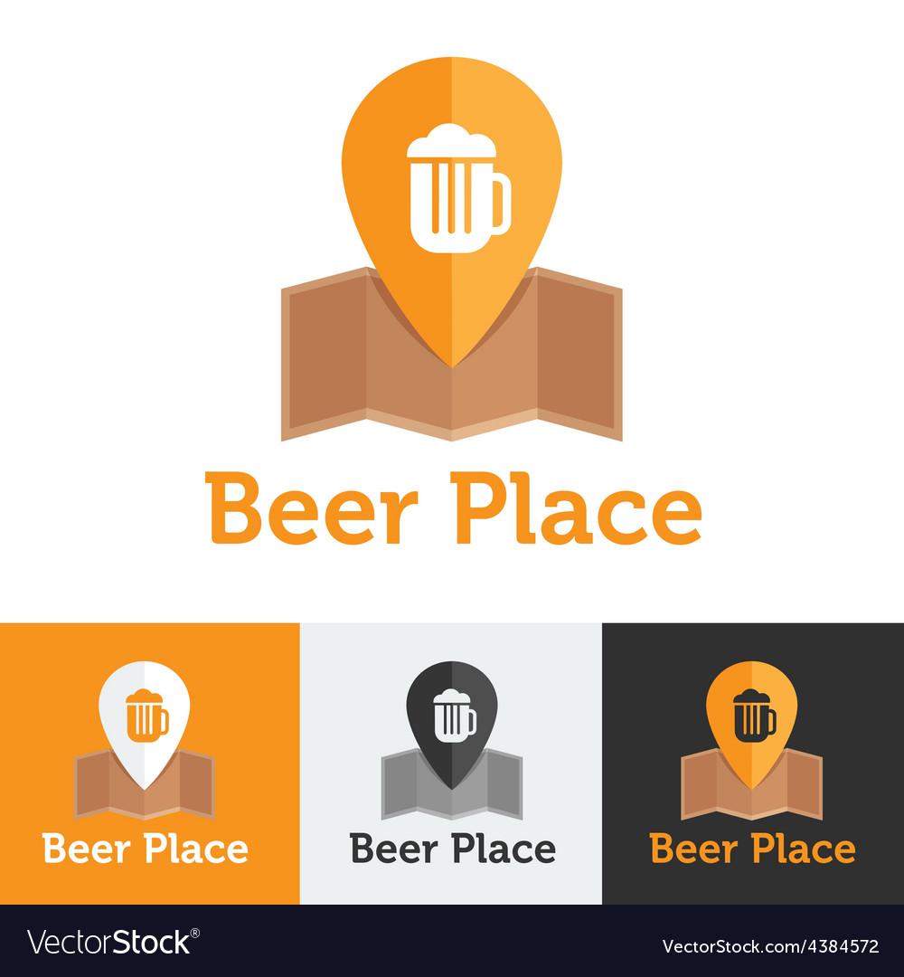 Flat beer shop or bar logo set vector image