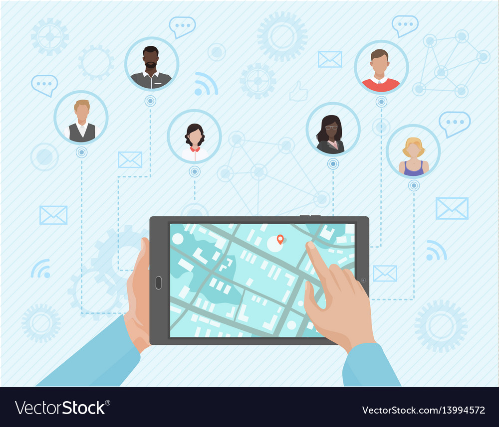 Hands of a person pointing at the tablet with the vector image