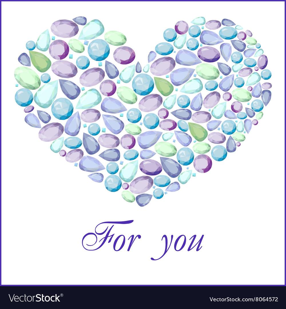 Heart of different blue gem stones