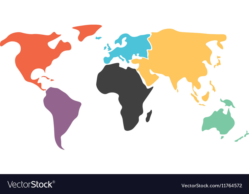 simplified vector world map Multicolored Simplified World Map Divided To Vector Image