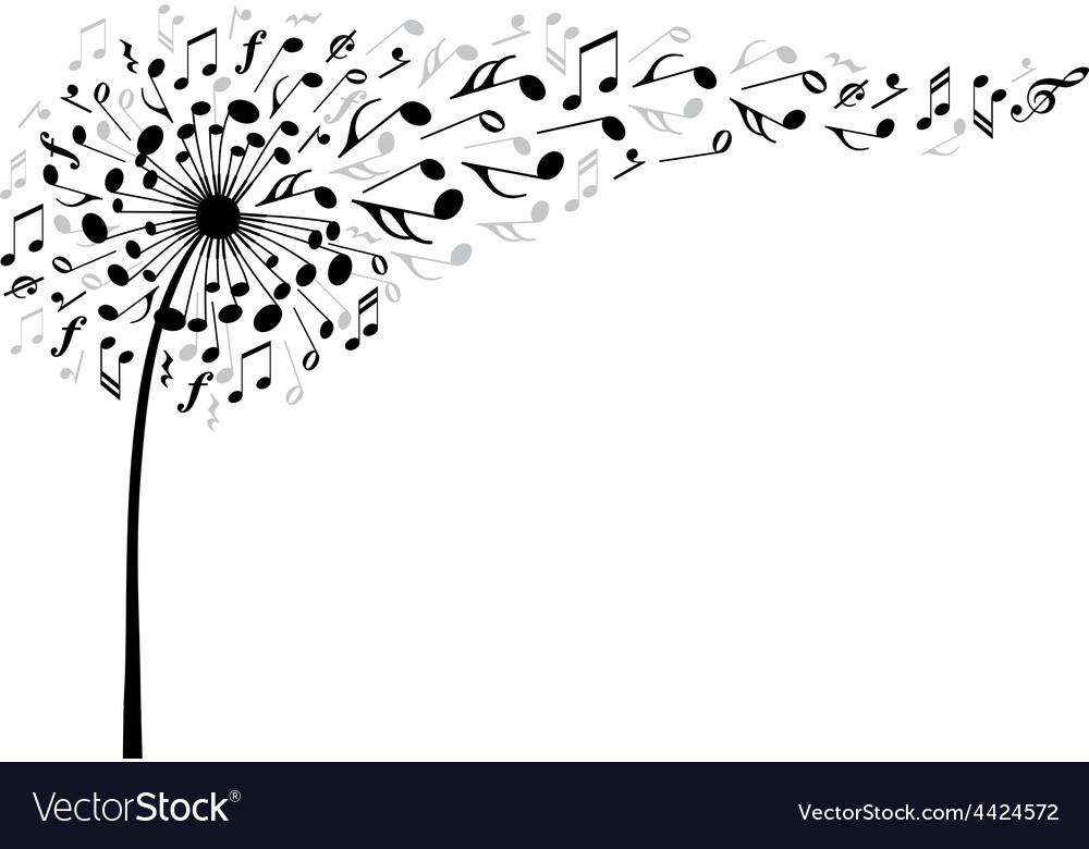 Music dandelion flower vector image