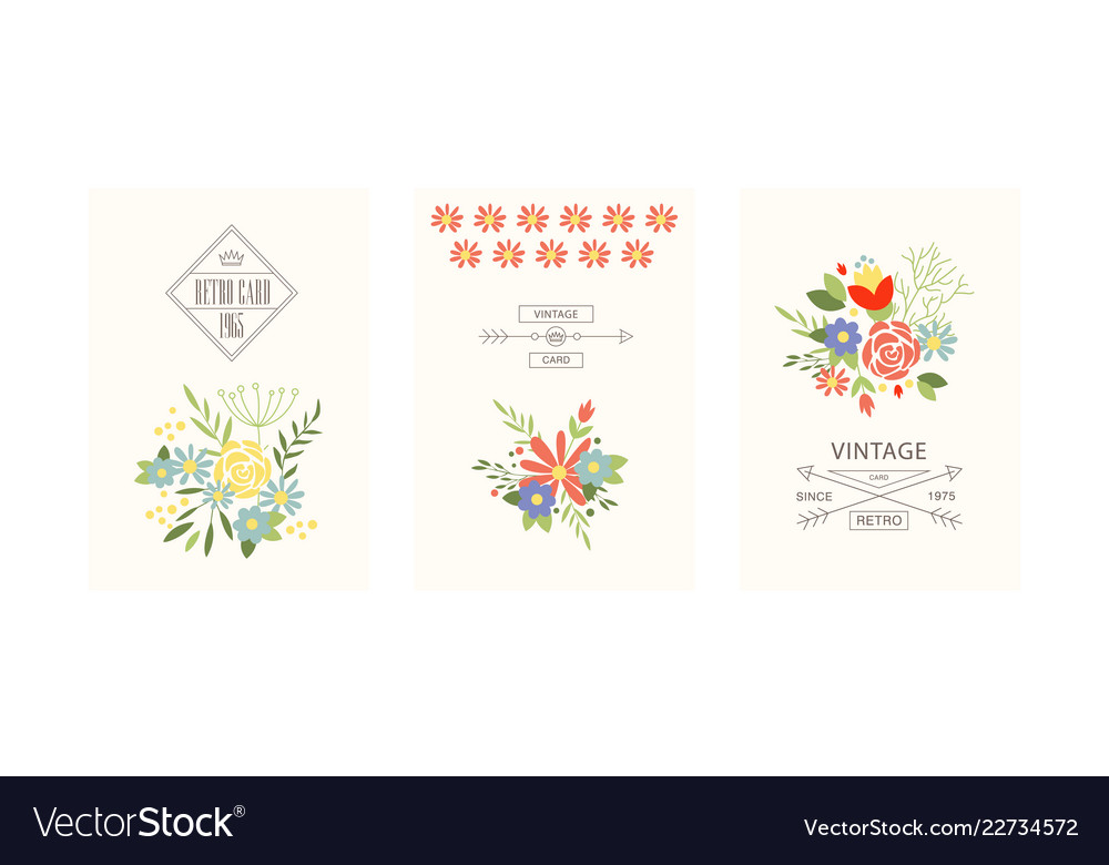 Retro cards with flowers set floral greeting