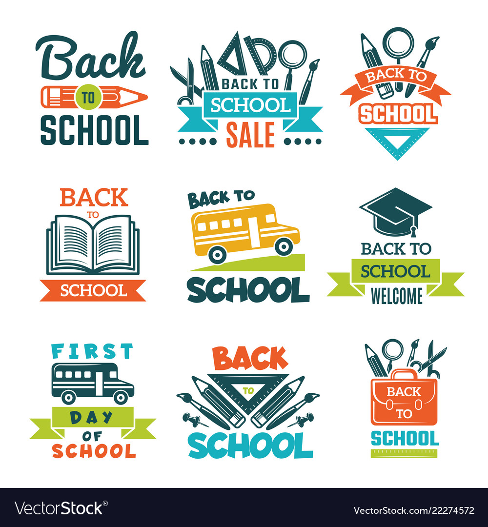 School labels set back to school theme