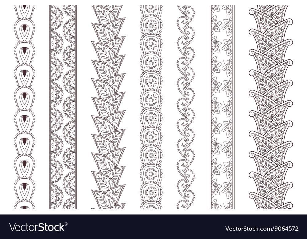 Set of paisley hand drawn henna tattoo borders