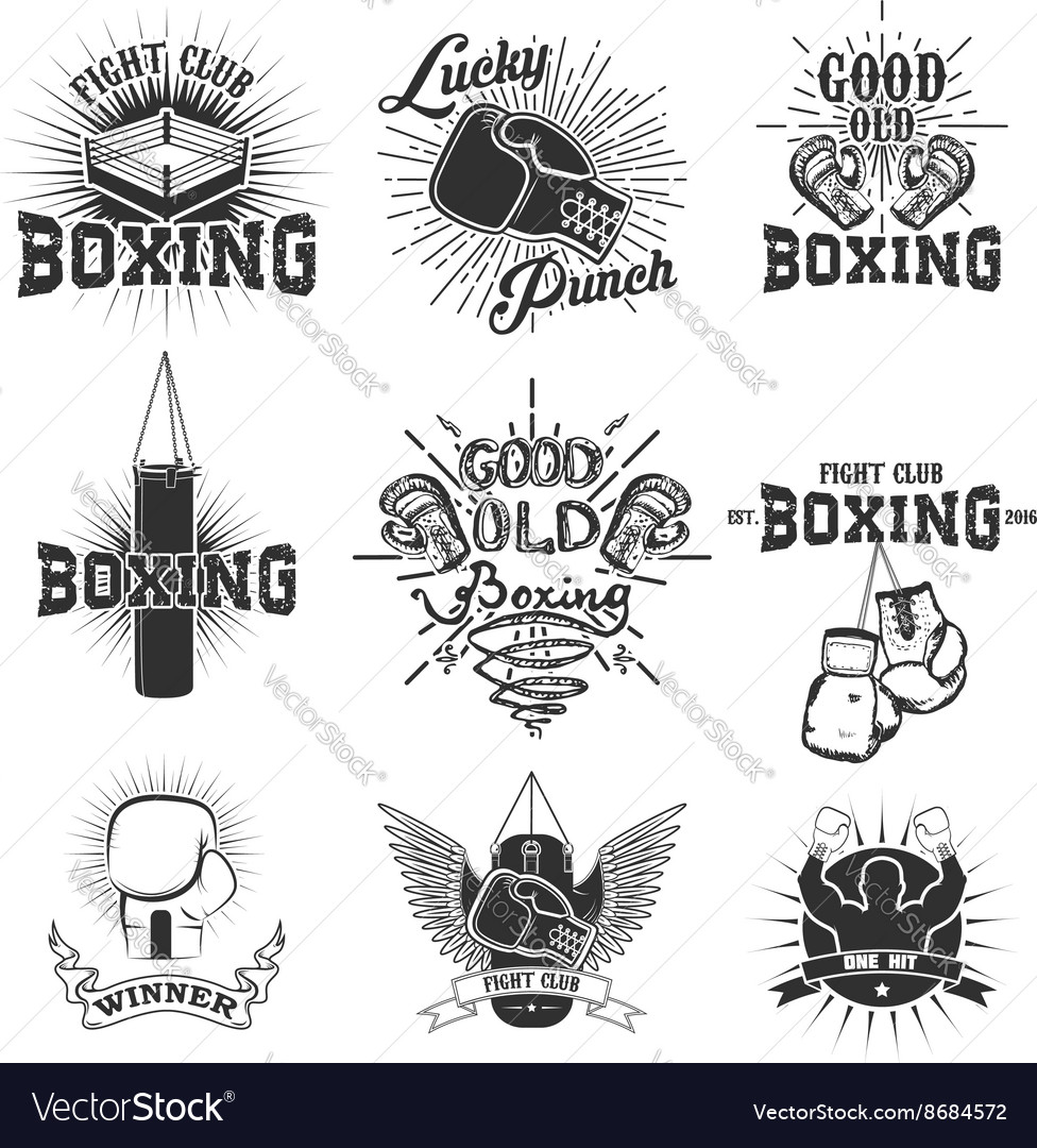 Set of the boxing club labels emblems and design
