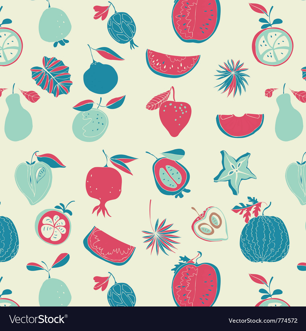Vintage fruit wallpaper vector image