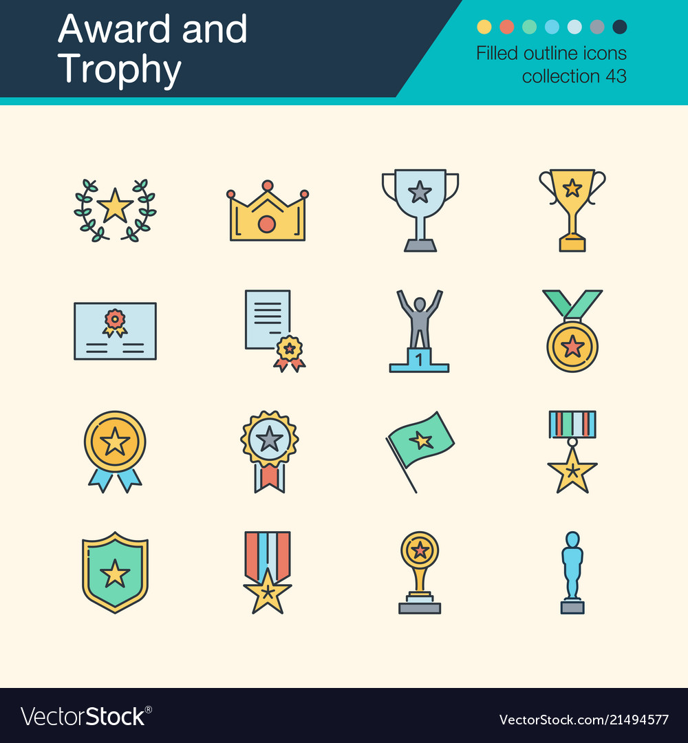 Award and trophy icons filled outline design