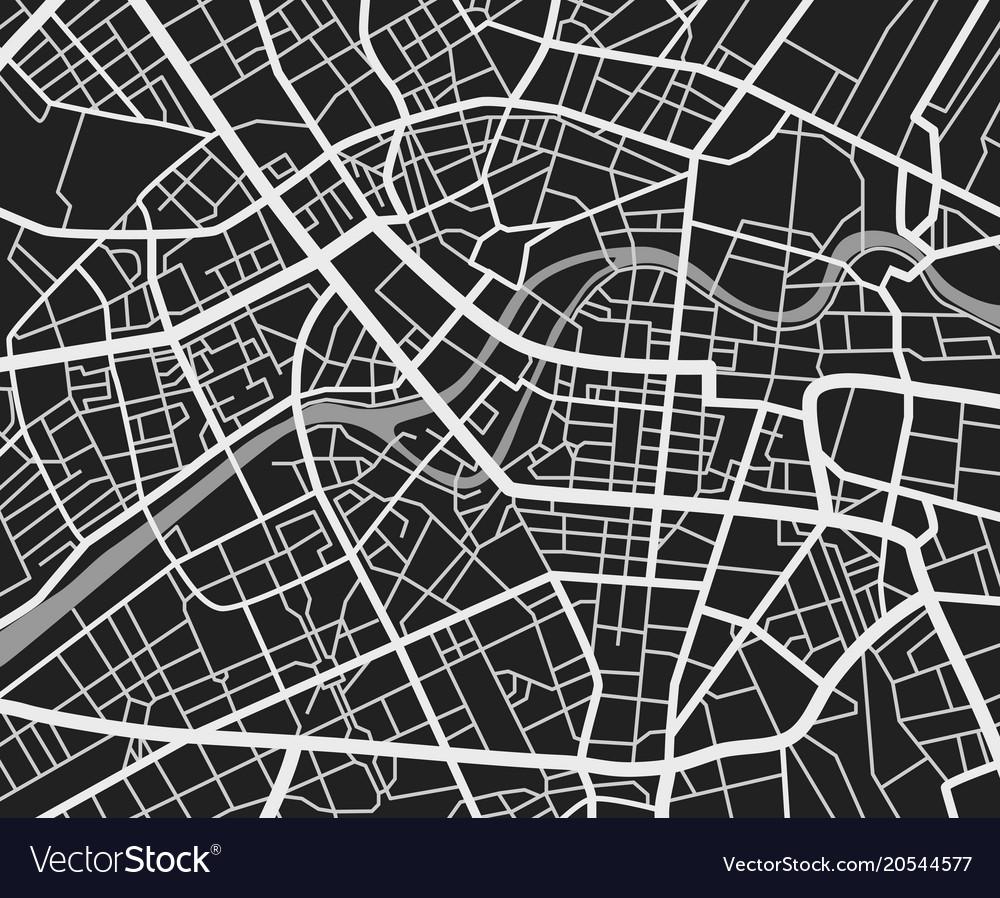 Black and white travel city map urban transport