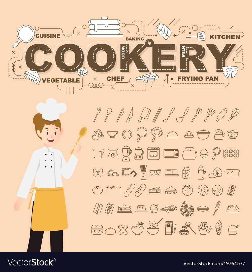 Cookery with food icons set design