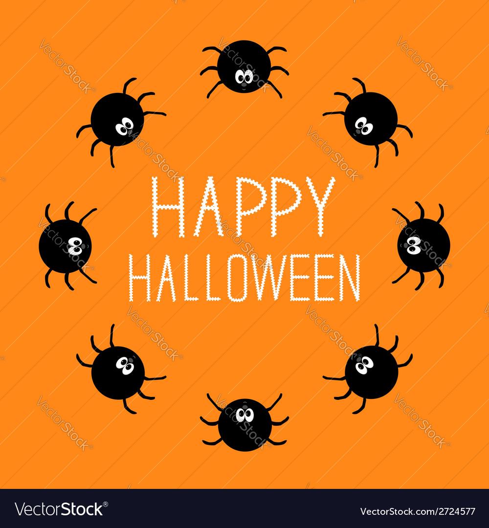 Cute cartoon spider round frame Halloween card