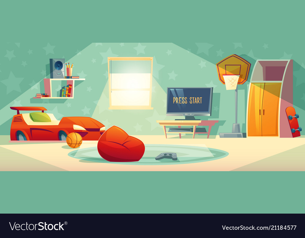 Game Console In Kid Room Royalty Free Vector Image