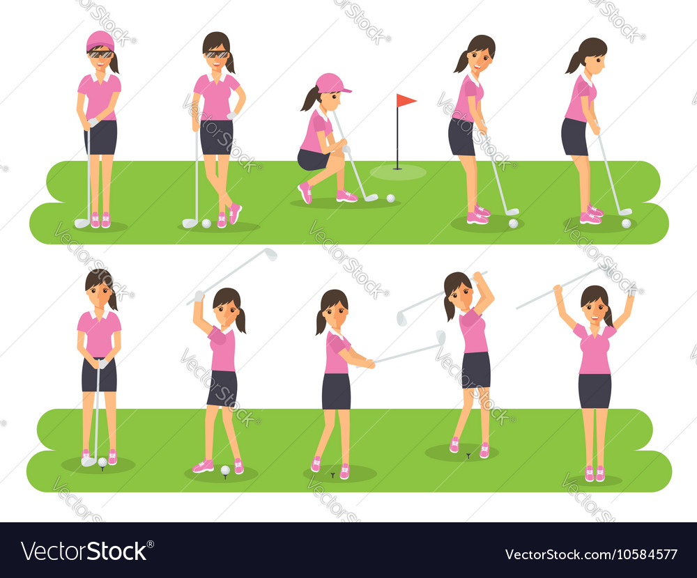 Golf players golf sport athletes in actions