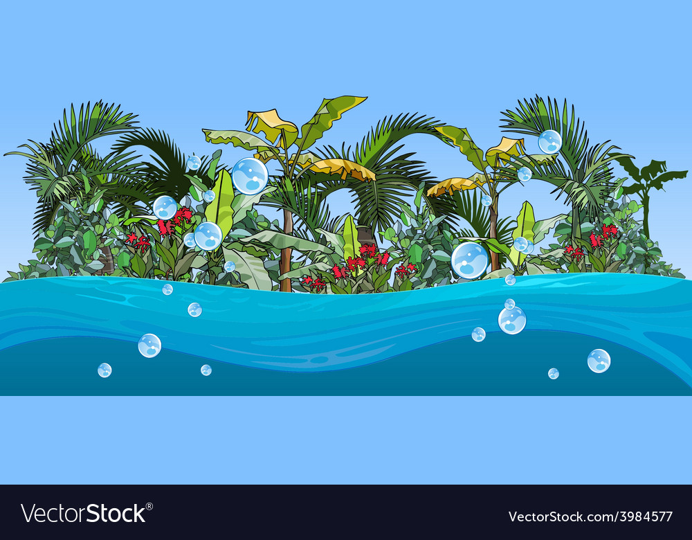Island with palm trees and tropical plants