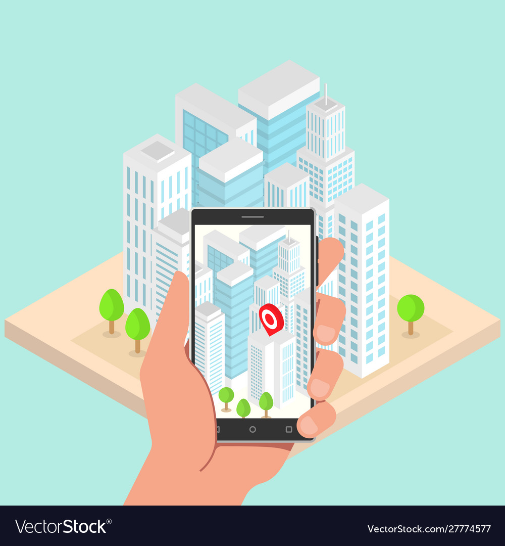 Isometric city buildings with gps navigation on