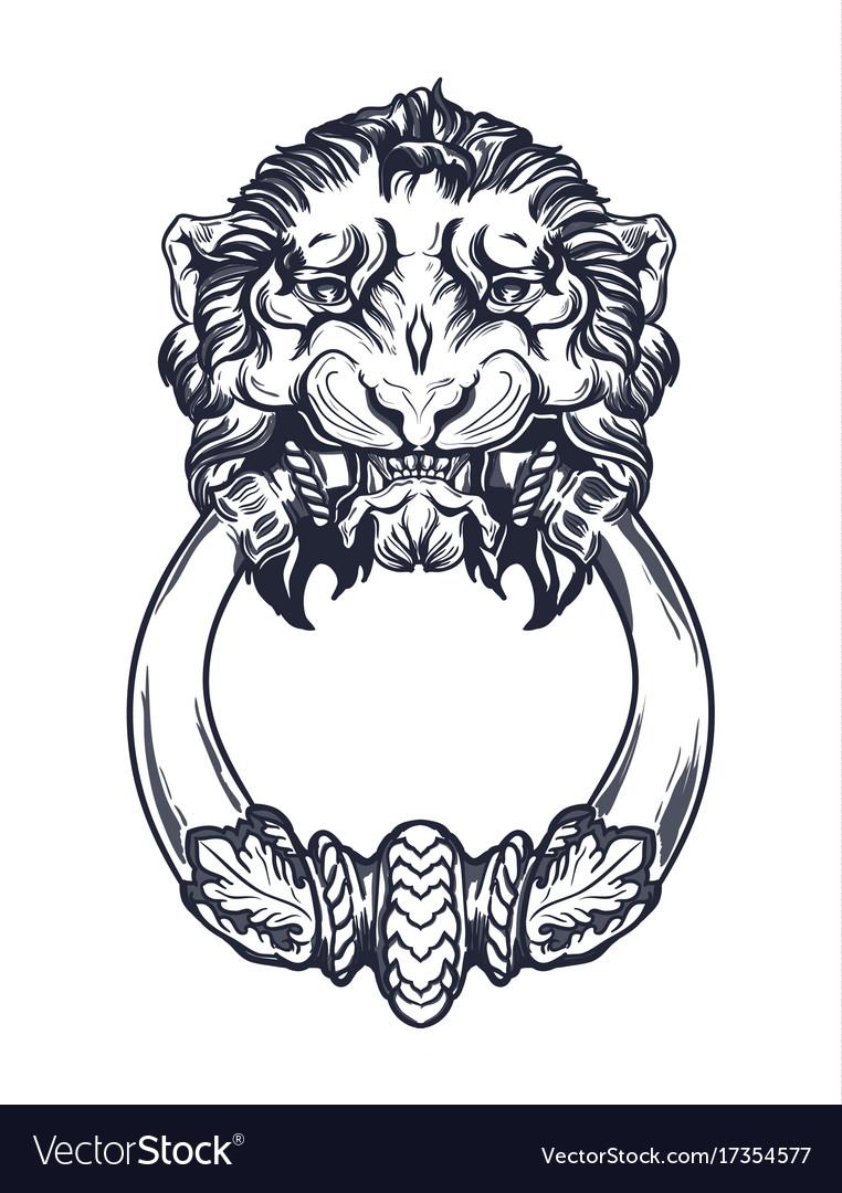 Delicieux Lion Head Door Knocker Hand Drawn Vector Image