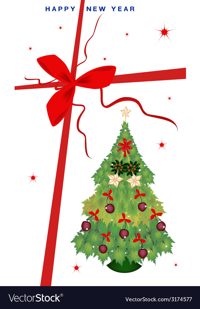 New Year Gift Card with Christmas Tree Royalty Free Vector