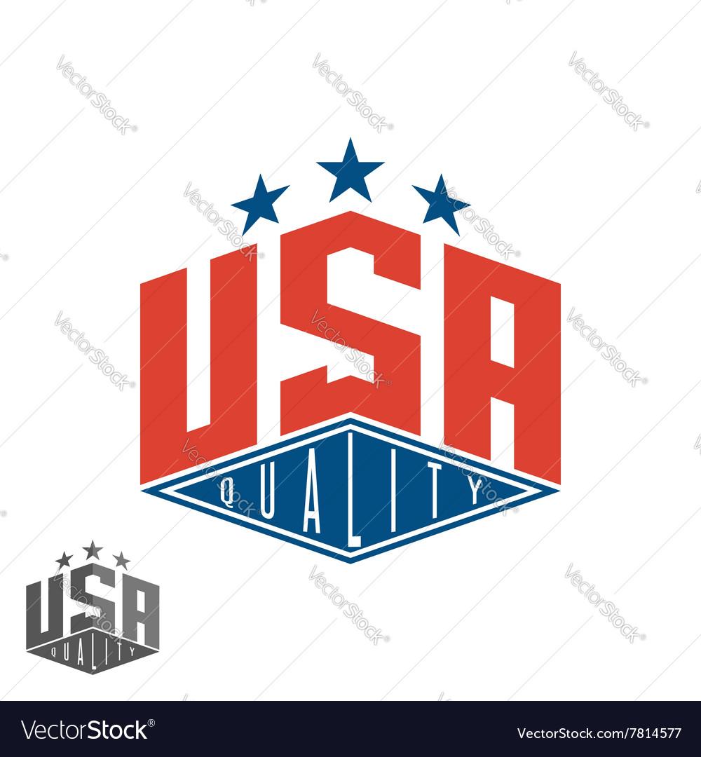 Quality USA logo colored flag of America print vector image