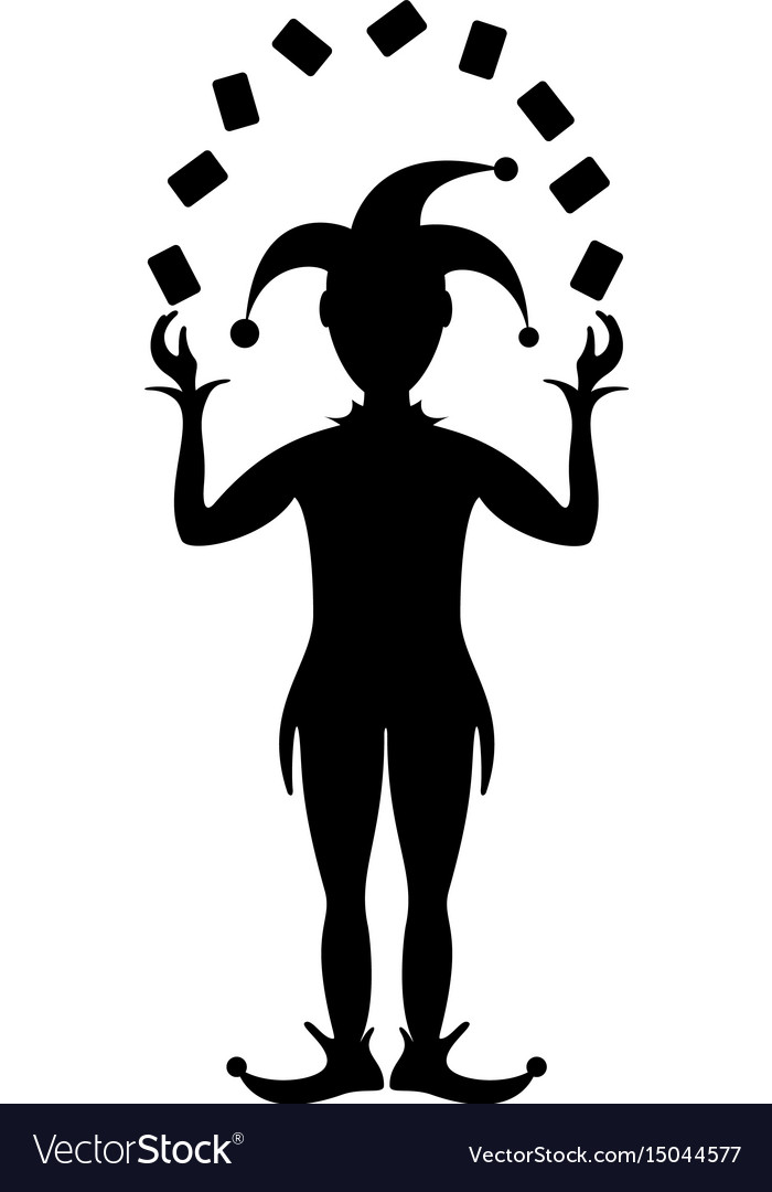 Silhouette of joker playing with cards vector image