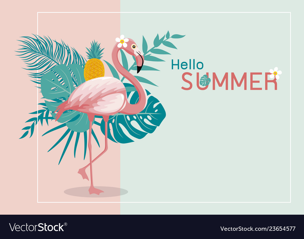 Summer banner design of flamingo and leaves