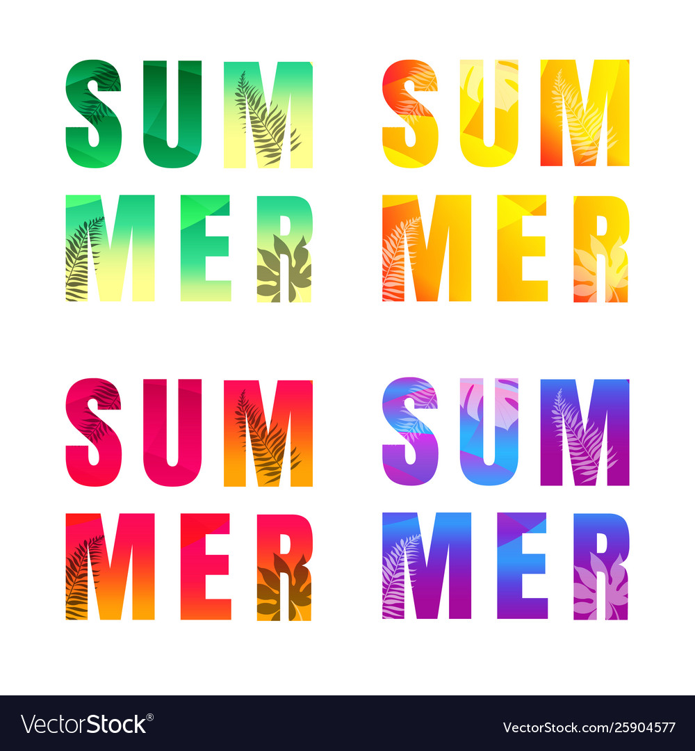 Summer text set isolated white background
