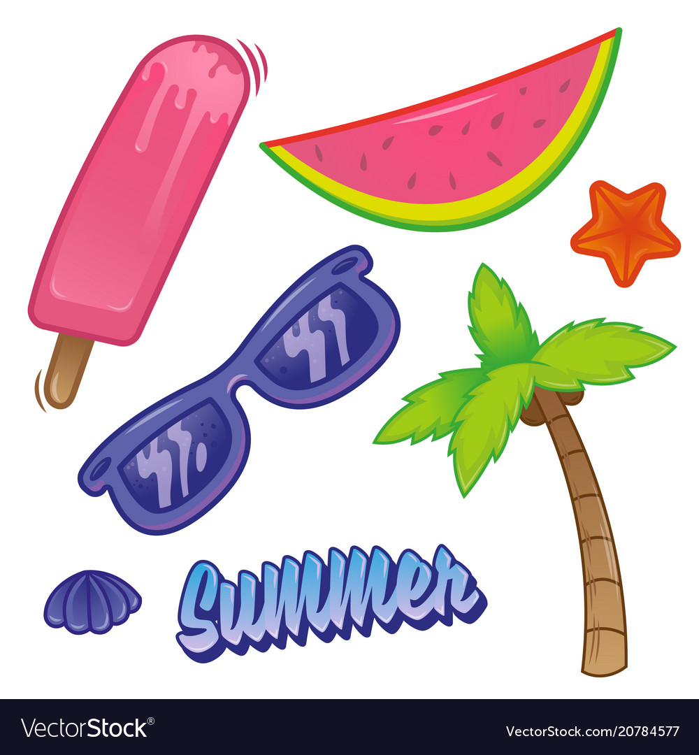 Summer time set sticker vector image