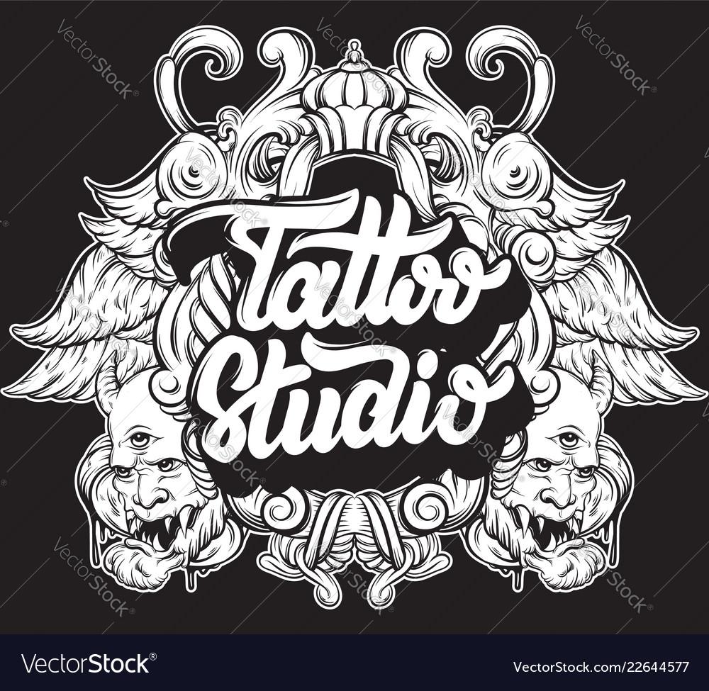 Tattoo studio handwritten trendy lettering with