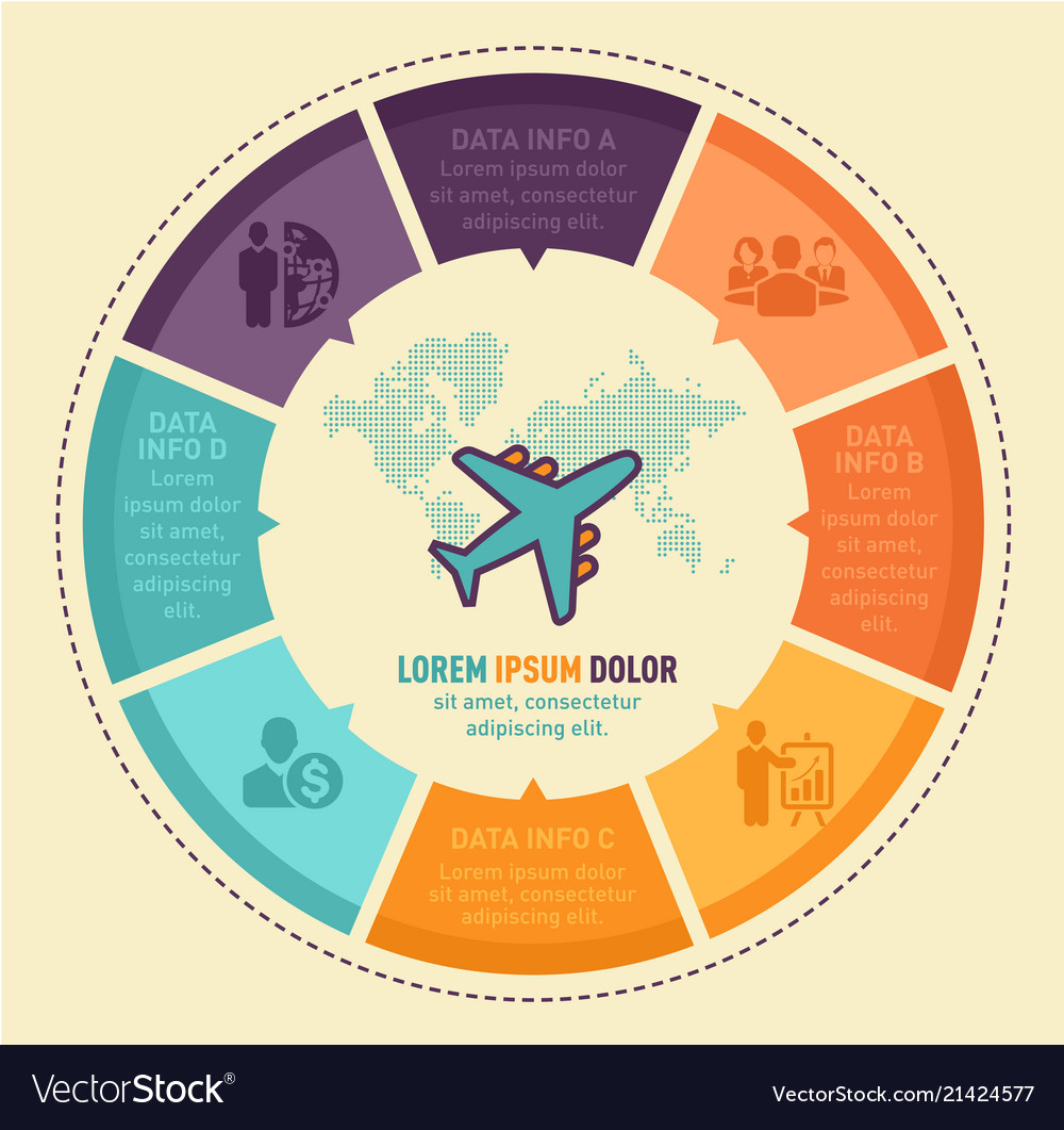 Travel infographic design with worldmap