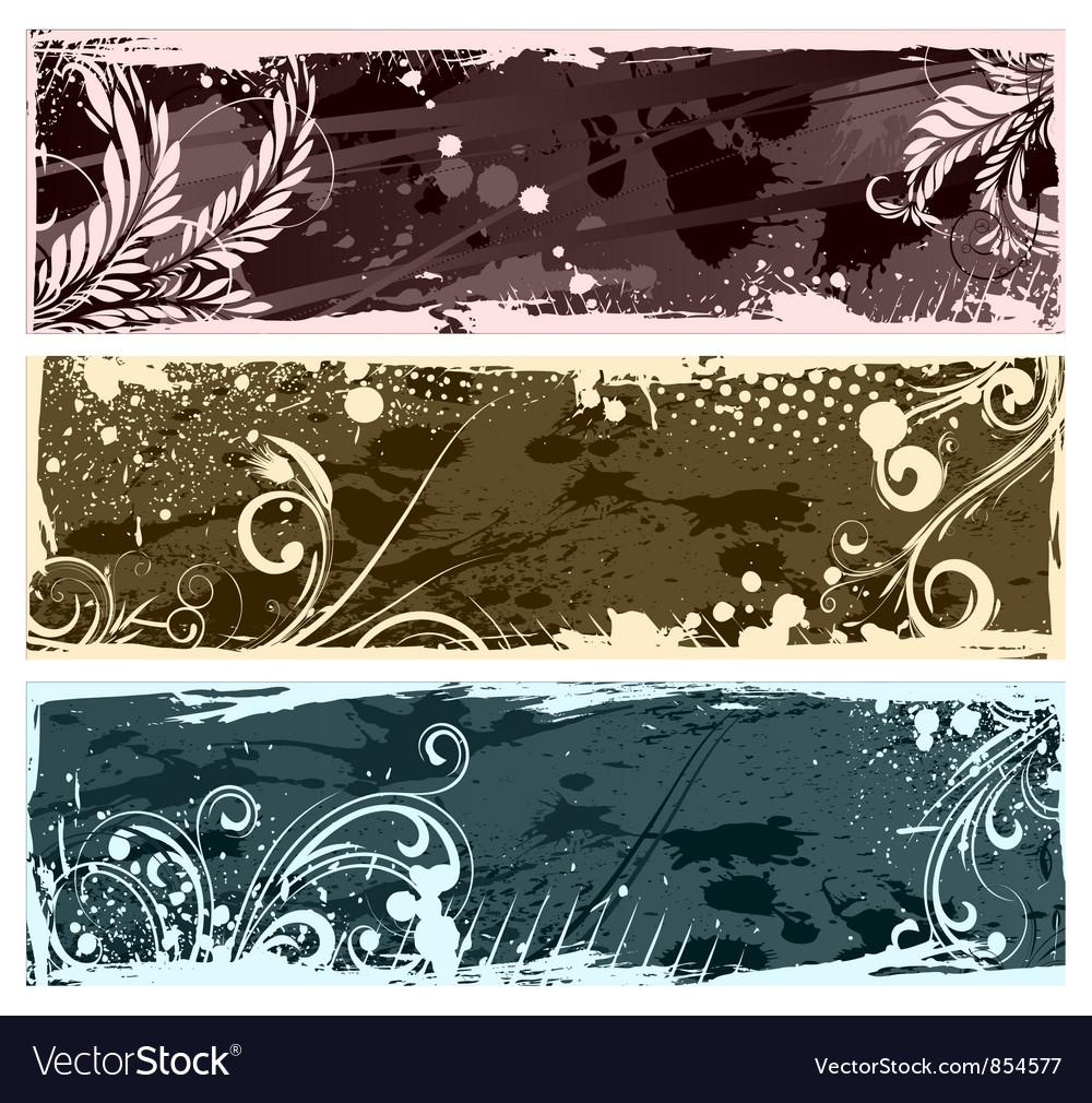 Vintage floral banners set