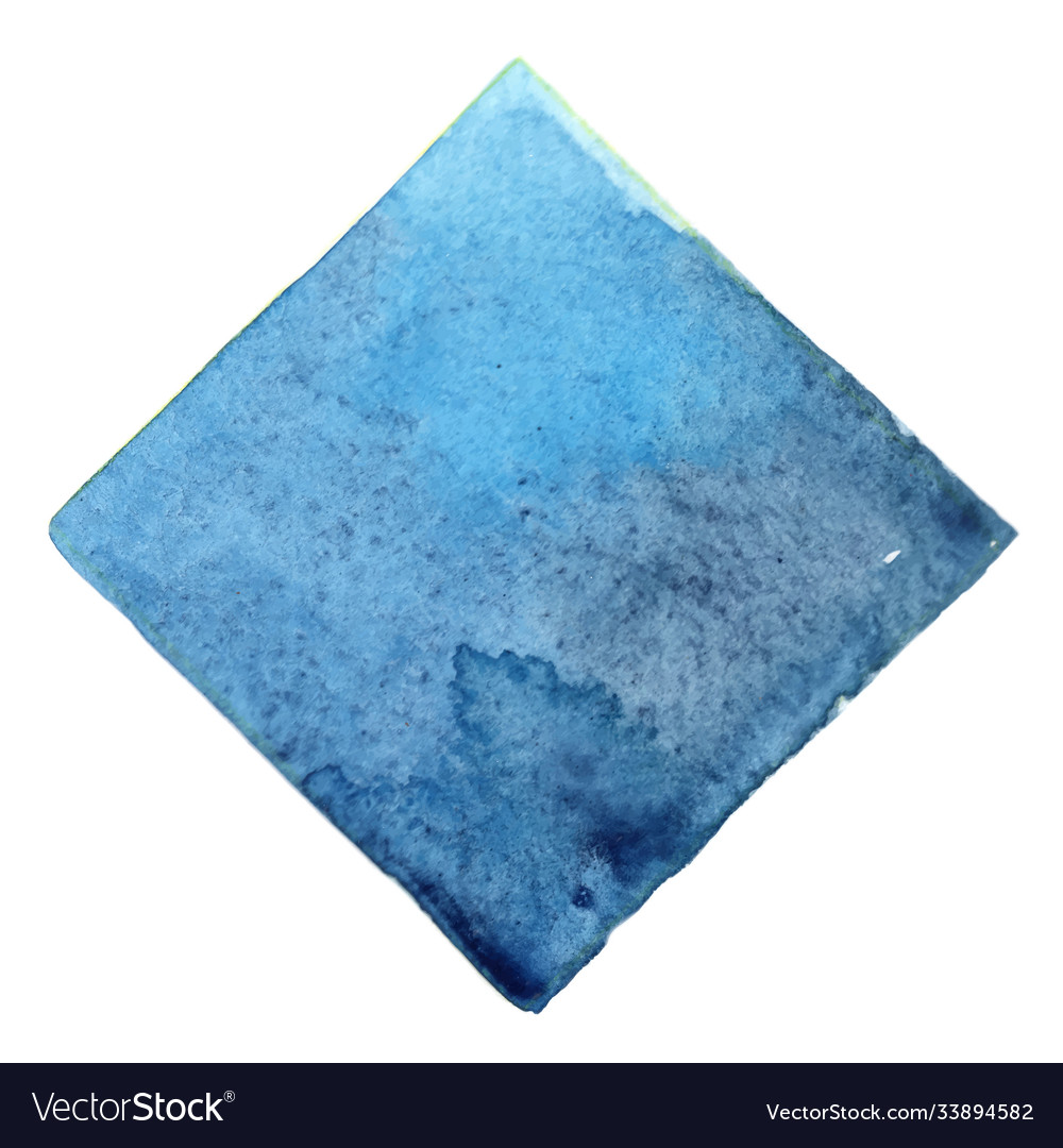 Abstract sky blue and indigo square watercolor